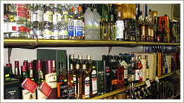 selection of strong liquors vodka, cognac, brandy, scotch