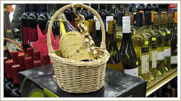 Wine gift basket fine wine bottles present rare bottle of wine in a basket