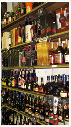 shelf with rare exquisite liquors in Rosemont liquors