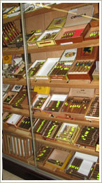 shelf with rare exquisite cigars in Rosemont liquors